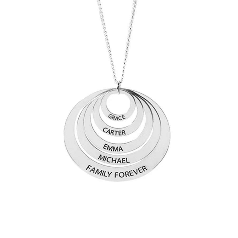 lovty Custom Name Necklace Personalized Engraved 5 Discs Circle Names Necklace for Mom Wife Daughter Girls