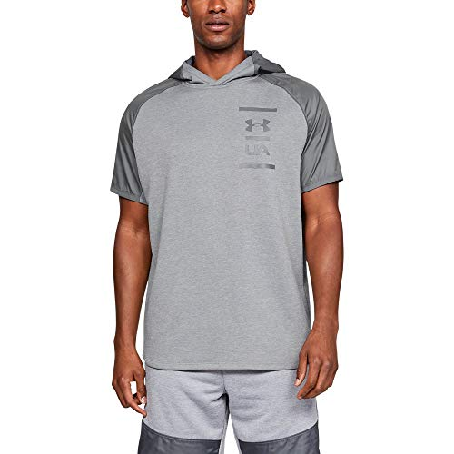 Under Armour Men's MK-1 Terry Short Sleeve Hoodie, Mod Gray//Pitch Gray, Large