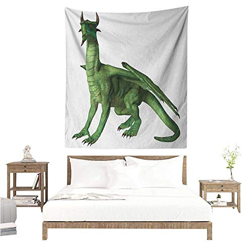 (Kids Tapestry Hippie Ugly but Cute Dragon Standing and Looking Miniature Dino Like Image Artwork Print Living Room Background Decorative Painting 70W x 84L INCH Green and White)