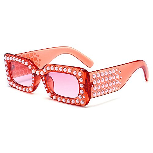 MINCL/2018 Hot Sale Oversized Diamond Sunglasses Womens Square Luxury Brand Designer Eyewear UV400 (red) (Sale Glass)