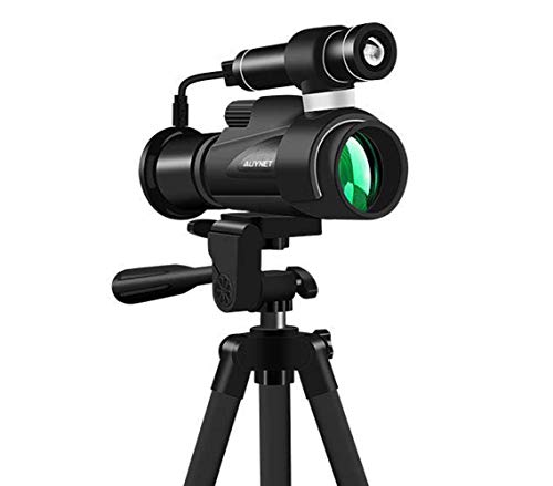 Aliynet Infrared Night Vision Monoculars with WiFi Wireless Connect with Smartphone Application,Night Vision Telescope with Big Tripod&Phone Adapter for Outdoor Trip,Camping Night Watching by Aliynet