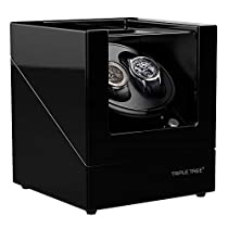 TRIPLE TREE Double Watch Winder for Automatic Watches, Wood Shell Piano Paint Exterior and Extremely Silent Motor, with Soft Flexible Watch Pillows, Suitable for Ladies and Mens Wrist