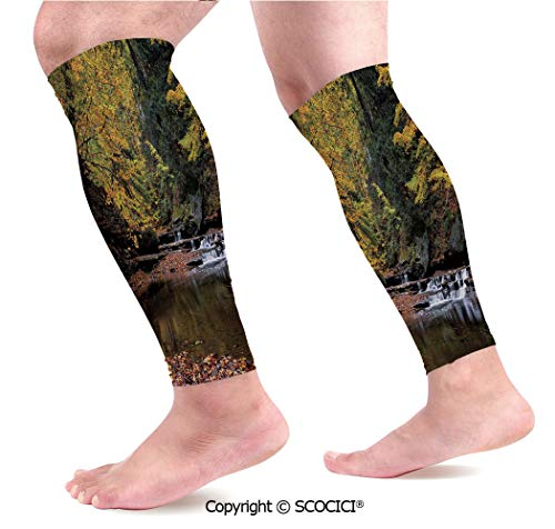 Leaf Copper Waterfalls (Flexible Breathable Comfortable Leg Skin Protector Sleeve Small Waterfall Brandywine Creek National Park Ohio Autumn Fallen Leaves Calf Compression Sleeve)