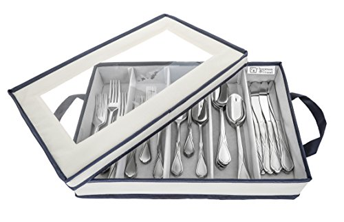 (Chapman & Grand Flatware Storage Chest, Container Box with Lid for Utensils, Silverware, Flatware with Large Capacity (Light Beige-Navy))