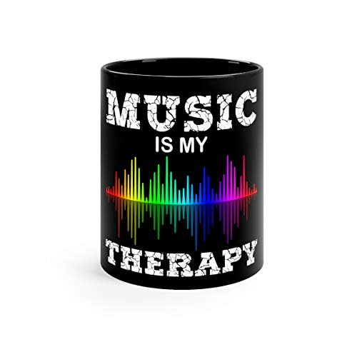 Music Is My Therapy Equalizer DJ Ts Musical Quotes Favorite Drink Mug Ceramic 11oz Black]()