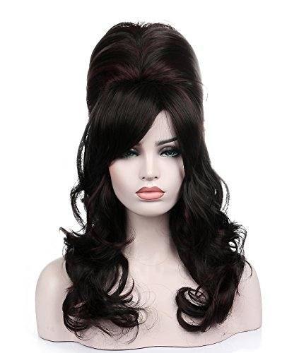 Kalyss Black Beehive Wig with Little Wine Red Streaks Women's Curly Wavy Long Heat Resistant Synthetic Hair Cosplay Costume Wigs -