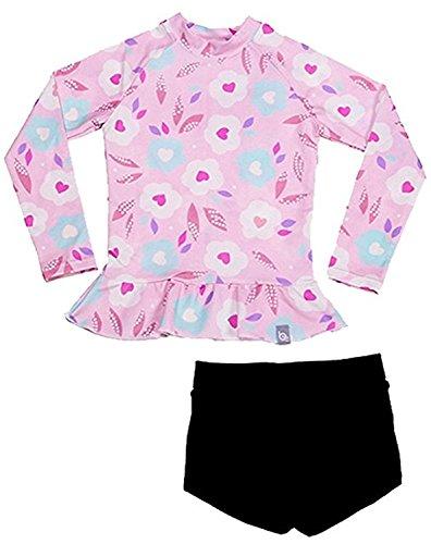(Jojobaby Baby Girls Kids 2 Piece Long Sleeve Floral UV Sun Protection Rash Guards Swimsuit Bathing Suit UPF50+ (L(4-5 Years), Style B))