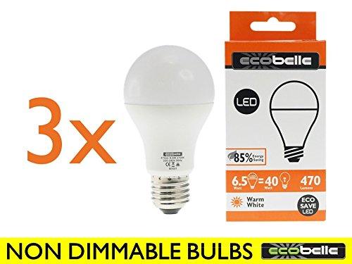 ECOBELLE® 3 x Bombillas LED E27 A60 6.5 W (equivalentes a 40 W), 470 lúmenes, blanco cálido 2700 K: Amazon.es: Iluminación