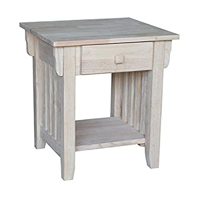 """International Concepts Mission End Table, Unfinished - Dimensions: 19.3""""W x 17.8""""D x 22""""H Made from solid hardwood Includes a butcher block surface Ready to assemble - living-room-furniture, living-room, end-tables - 41NCSTkdw6L. SS400  -"""