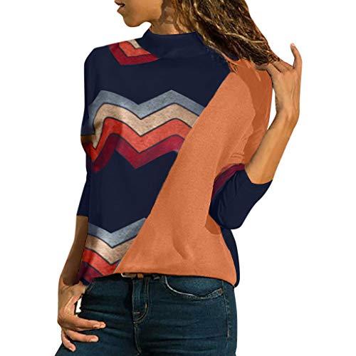 AOJIAN Blouse Women Long Sleeve T Shirt High Neck Color Patchwork Casual Tunic Tank Shirts Tops Orange
