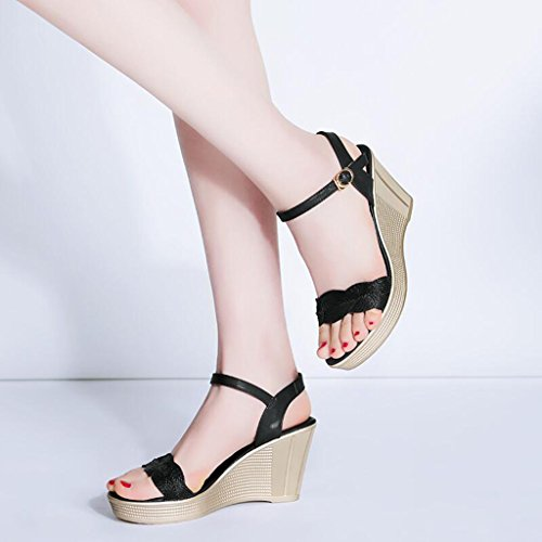 Waterproof Sandals Heels Open Toe Platform Black Sexy Fashion High High Slope Thin Cjc heeled Elegant qWUpFq7