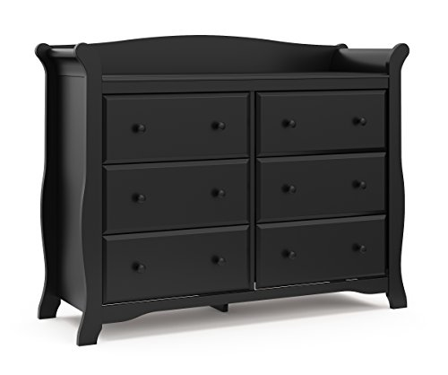Storkcraft Avalon 6 Drawer Universal Dresser, Black