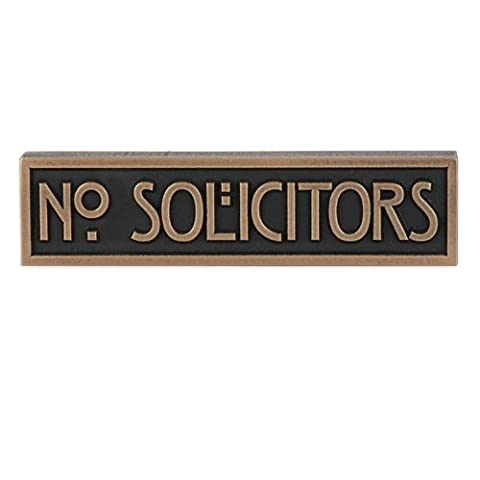 Mini Stickley No Solicitors Plaque 8x2 - Raised Bronze Metal Coated Sign (New House Plaque)