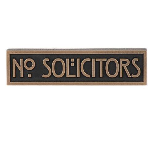 - Mini Stickley No Solicitors Plaque 8x2 - Raised Bronze Metal Coated Sign