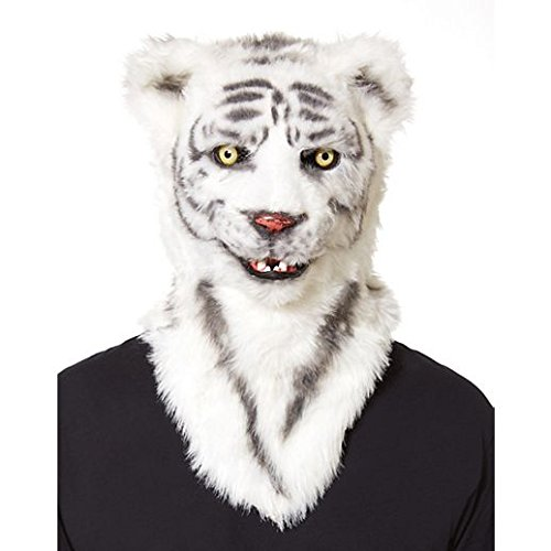 Costume Beautiful Moving Mouth White Tiger Mask -