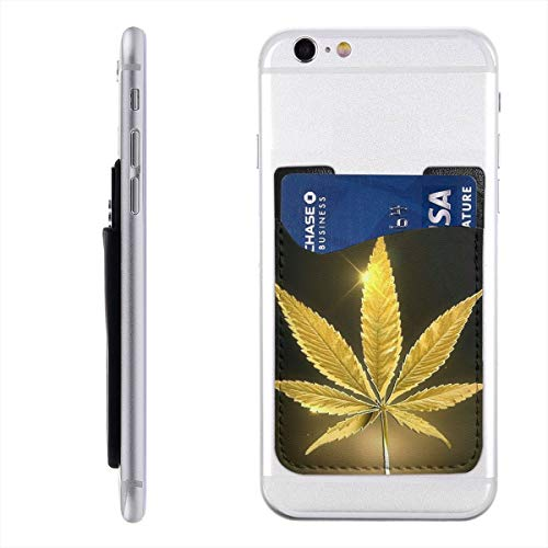 Golden Hemp Leaves Phone Card Holder Silicone 3M Adhesive Stick-on ID Credit Card Holder Sleeves Pouch Phone Pocket