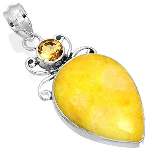 Natural Yellow Calcite Gemstone Handcrafted Jewelry Solid 925 Sterling Silver Pendant from Jeweloporium