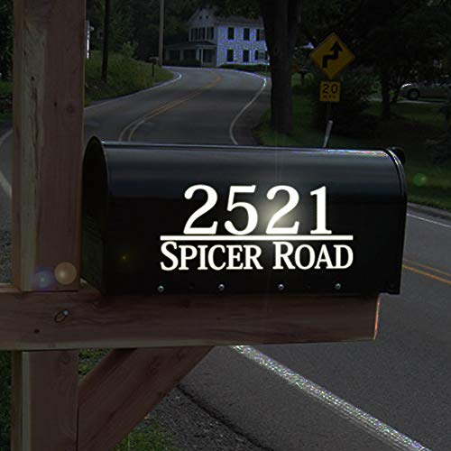 - Reflective Mailbox Numbers Maribeatty Personalized White Mailbox Decal House Vinyl Address Sign