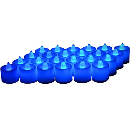 Blue Led Candles (24 Pack LED Tea lights Candles - Flickering Flameless Tealight Candle - Battery Operated Electronic Fake Candles - Decoration for Wedding, Party, Dating and Festival Celebration)