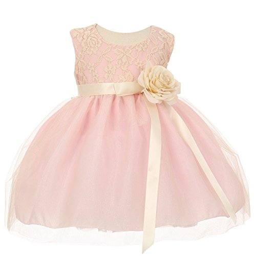 Antique Lace Dress - Cinderella Couture Baby Girls Pink Two Tone Lace Satin Ribbons Corsage Flower Girl Dress 6M