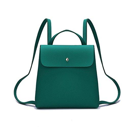 VIASA Fshion Women Girl Pure Fashion Sexy Color Leather Mini School Bag Backpack Shoulder Bag (Green)