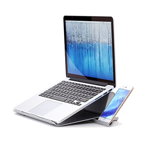 COOSKIN® 2 in 1 Adjustable Aluminium Laptop Stand for MacBook with Phone Stand For iPhone and Other - Si Eye