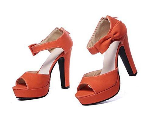 Aisun Womens Sweet Bowknot Peep Toe Ankle Strap Platform Dress Sandals Orange cxo1KGVojf