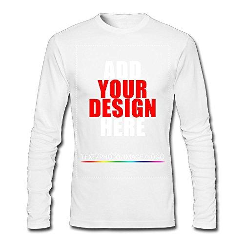 Men Custom Long Sleeve T-Shirt, Design Your Personalized Shirt, Image Photo Text White