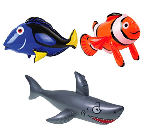 William & Douglas Ocean Inflatables Party Bundle | Party Favors Include Clown Fish, Sharks, Blue Tang Fish
