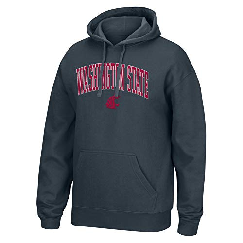 Top of the World NCAA Men's Washington State Cougars Applique Arch Over Hoodie Charcoal Heather Large