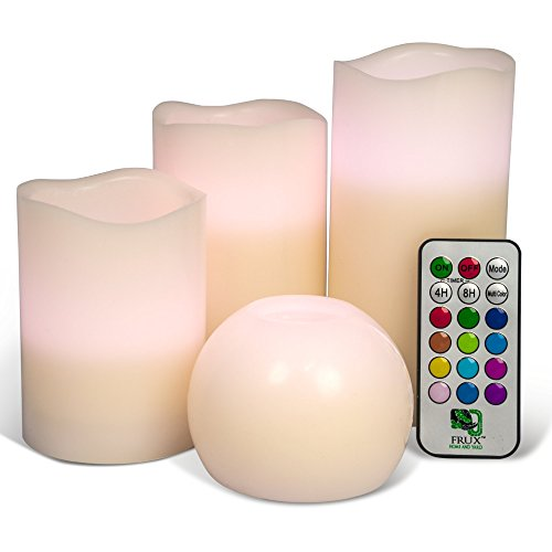 4 Pack Flameless Candles, Flickering Battery Powered LED Includes Bonus Moon Votive, Realistic Dripless Faux Set for Seasonal, Weddings, Centrepieces and Decor, Remote Control with 12 Color and Timer by Frux Home and Yard