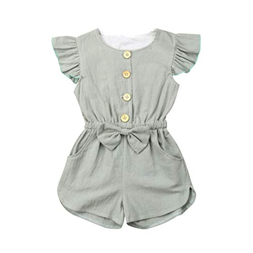 YOUNGER TREE 6M-5T Toddler Baby Girls Fly Sleeve Bodysuit Summer Button Jumpsuit with Pocket Green ()