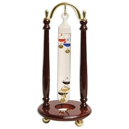 G.W.Schleidt 205T CS 10 Pcs 9 in. Hanging Multicolor Galileo Thermometer Brass-Cherry Finish Stand