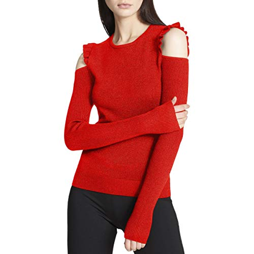 Sweater Nylon Metallic (DKNY Womens Cold Shoulder Metallic Pullover Sweater Red M)