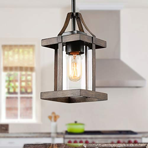 LNC Faux-Wood Pendant Lighting, Farmhouse Island Light with Clear Glass Shade for Kitchen Island, Foyer, Entry and Dining Room