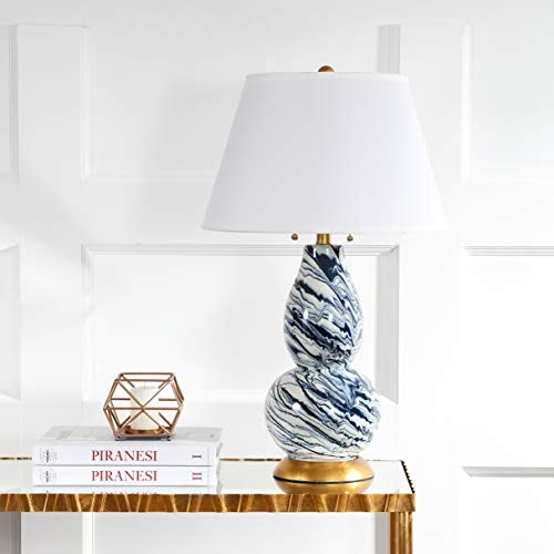 Safavieh Lighting Collection Navy and White Color Swirls Glass 28-inch Table Lamp (Navy Lamps)