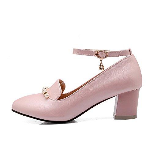 Absatz Rein Zehe Mittler Schuhe Pumps Spitz AllhqFashion PU Schnalle Damen Pink cHzUUywn