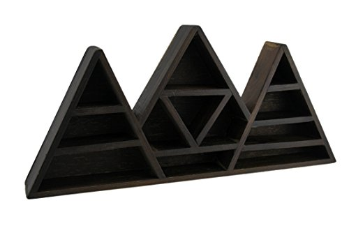 Wood Hanging Shelves Dark Brown Wooden Geometric Triangle Crystal Display Shelf 16.5 X 7.75 X 2 Inches Brown - Moon Display