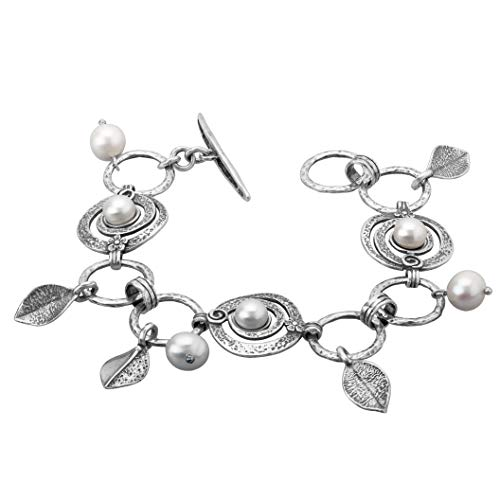 Paz Creations ♥ .925 Sterling Silver Charm Bracelet with Pearls and Toggle Closure (7.25)