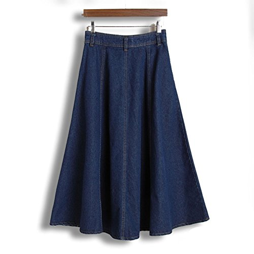Womens Juniors High Waist A-line Vintage Long Denim Skirts with ...