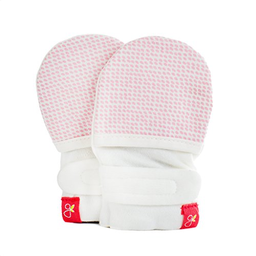 goumikids - goumimitts, Scratch Free Baby Mittens, Organic Soft Stay On Unisex Mittens, Stops Scratches and Prevents Germs - (Drops - Pink, 0-3 Months)