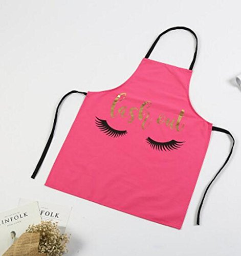 Easyflower Very Attractive Personality Eyelashes Printed Apron Simple Home Apron (Rose Red)