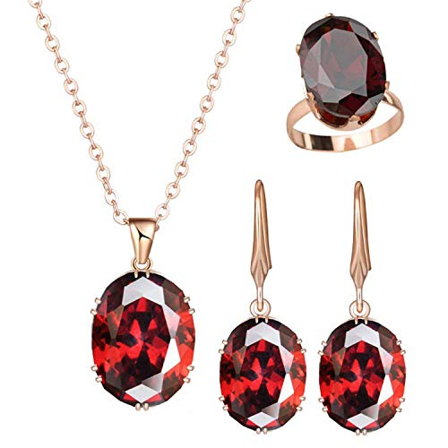 Avory New Luxury Rose Gold Engagement Jewelry Sets Cubic Zircon for Women Bridal Wedding Earrings Sets with Rings,Red