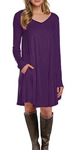LILBETTER Women's Long Sleeve Pocket Casual Loose T-Shirt Dress (Purple L)