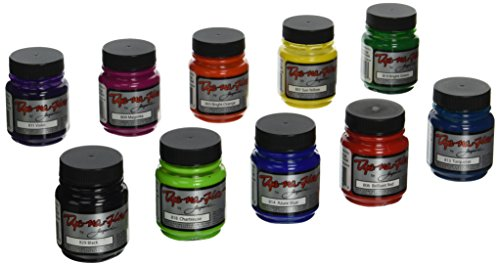 Jacquard Silk Painting - Jacquard Dye-Na-Flow Non-Toxic Specialty Paint Set, 2.25 oz Jar, Assorted Color, Set of 10