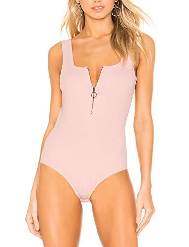 May&Maya Women's Bodysuit Zipper Pink Tops Scoop Back Tops Charlotte Bodysuit Cami Tops Tank Top (Pink, S) ()