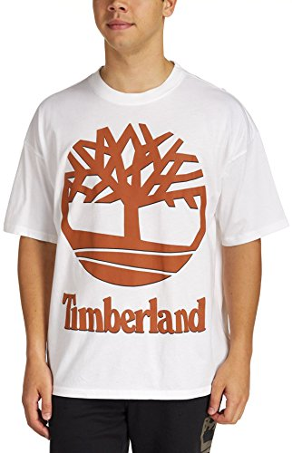 Timberland Mens Short Sleeve New 90s Inspired Tee White/Leather Brown SM One ()
