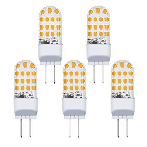 ight Bulbs(5 Pack)- 110V Warm White 3000K T3/T4 JC Type LED Bulb G6.35/GY6.35 40W Halogen Bulb Equivalent for Desk Lamp Accent Chandelier Light Landscape Lighting ()