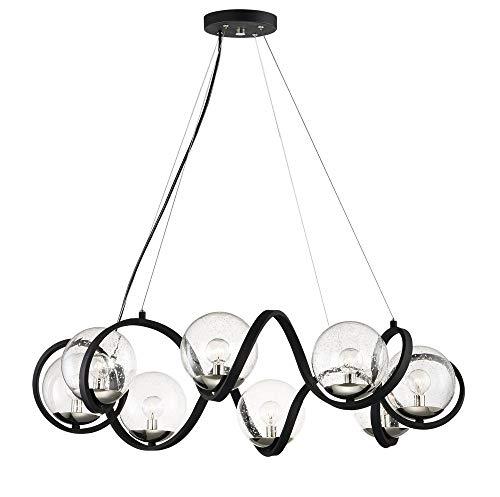 Maxim Lighting 35108CDBKPN Curlicue Multi-Light Pendant, Black/Polished Nickel