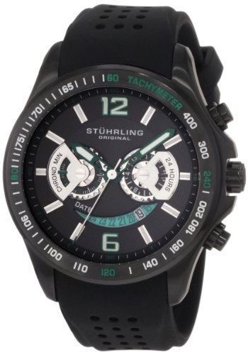 Stuhrling Original Men's 274.335671 Champion Victory Brevet Quartz Chronograph Black Rubber Strap Watch